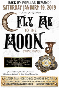 Poster for FLY ME TO THE MOON Swing Dance January 19, 2019